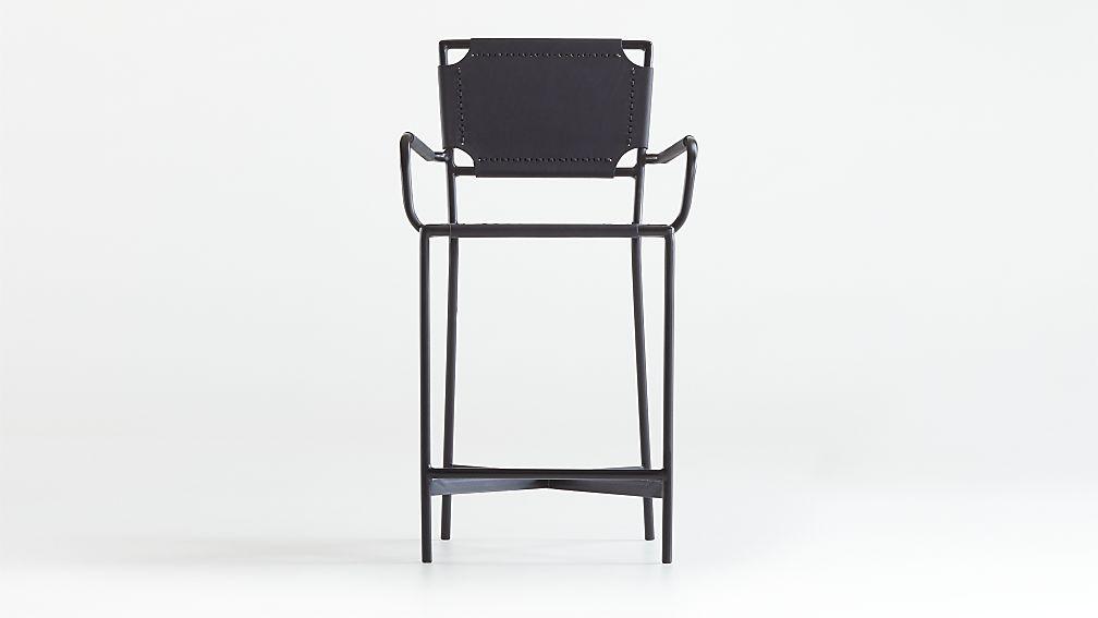 Laredo Black Leather Counter Stool - Image 1 of 6