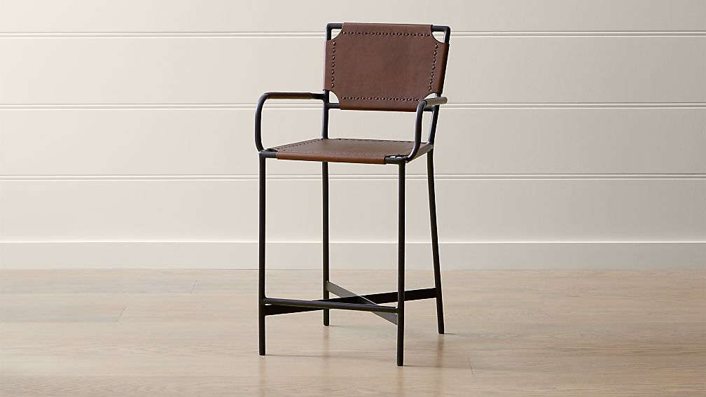 Laredo Brown Leather Counter Stool - Image 1 of 7