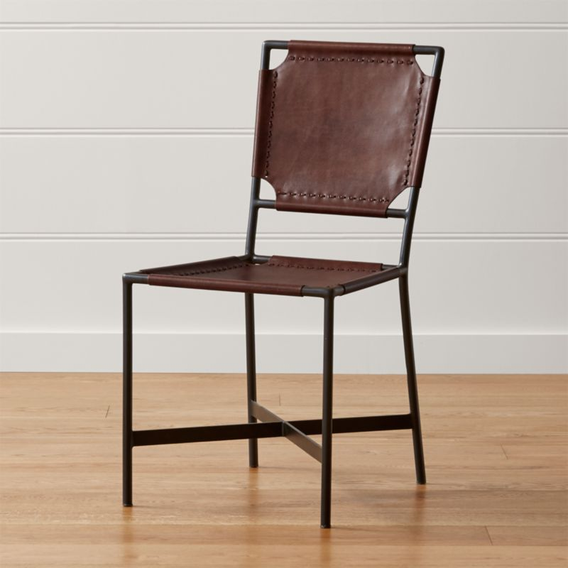 Laredo Brown Leather Dining Chair + Reviews | Crate and Barrel