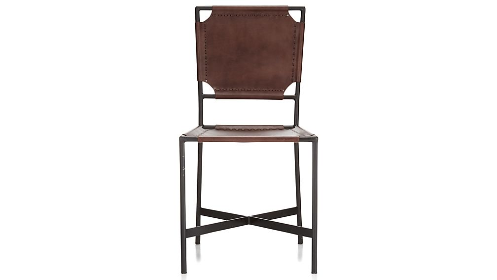 Laredo brown leather dining chair crate and barrel for Laredo chat rooms