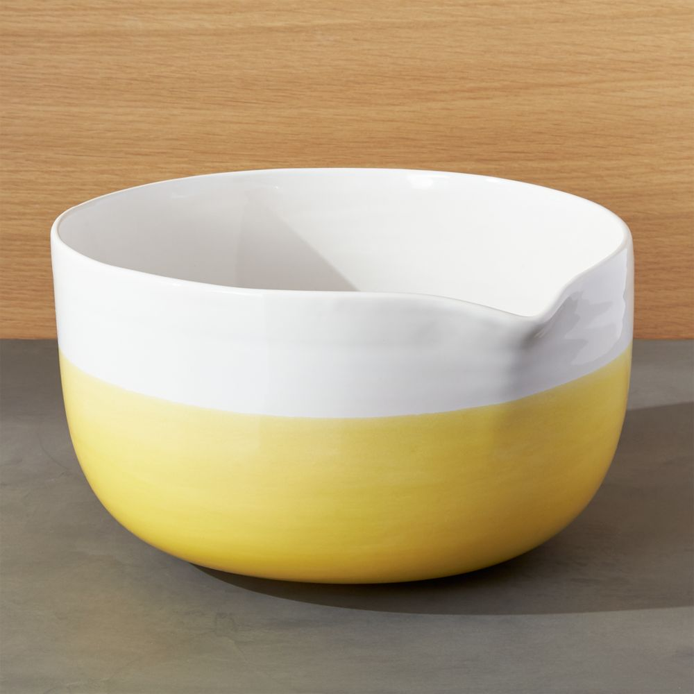 Yellow Dip Mixing Bowl with Spout - Crate and Barrel