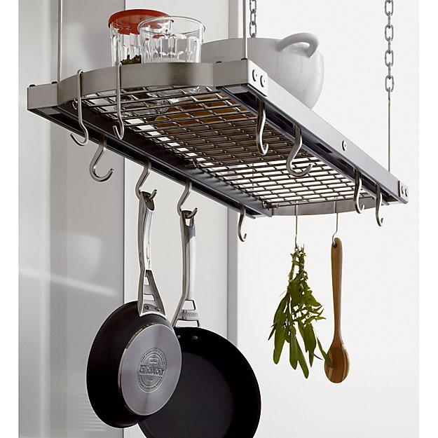 J k adams large grey ceiling pot rack reviews crate for Overhead pots and pans rack