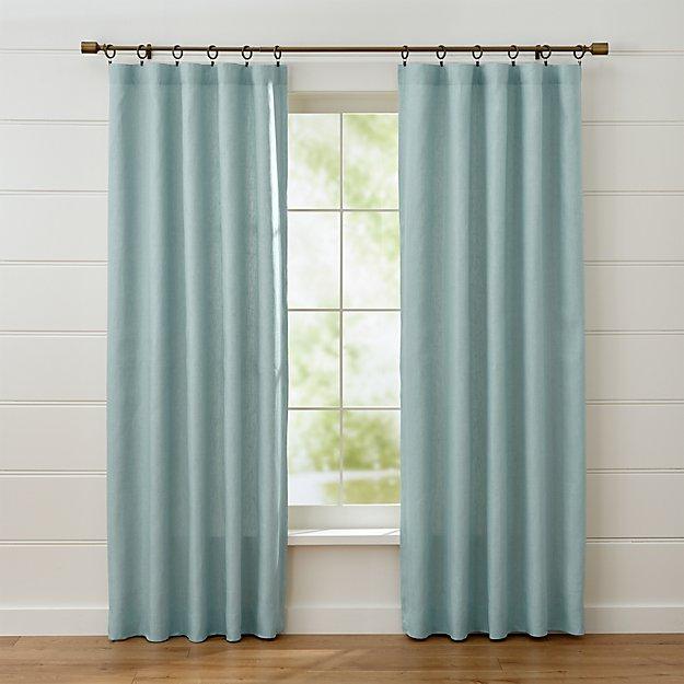 Largo Aqua Linen Curtain Panels