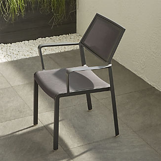 Lanai Charcoal Grey Mesh Square Dining Chair