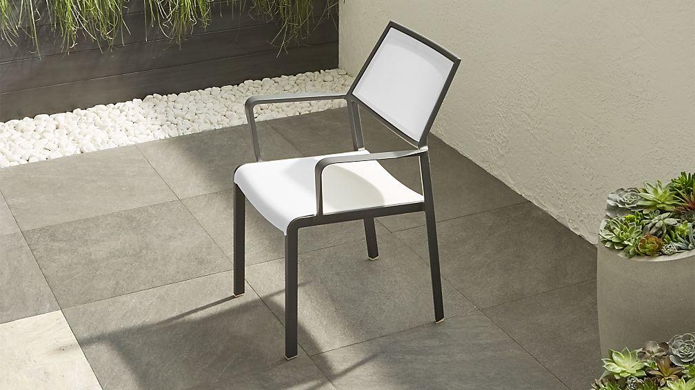 Lanai White Mesh Square Dining Chair - Image 1 of 11