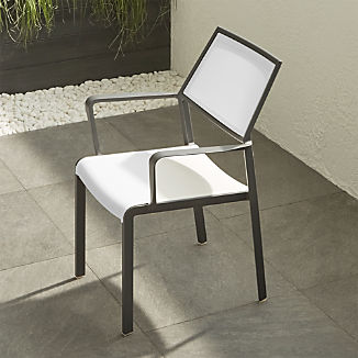 Lanai White Mesh Square Dining Chair