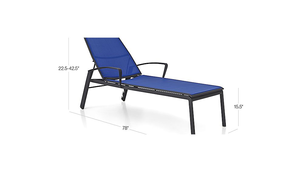 Largo mediterranean blue mesh chaise lounge crate and barrel for Blue chaise lounge