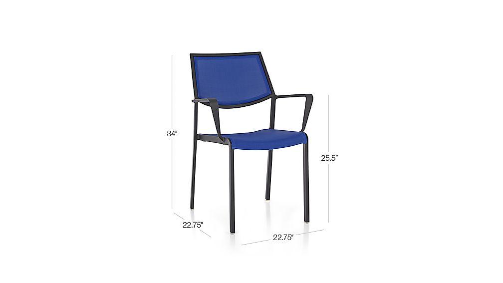 Largo Mediterranean Blue Mesh Dining Chair Crate and Barrel : LargoMshDngArmChrMdBl3QS15Dim from crateandbarrel.com size 1008 x 567 jpeg 17kB