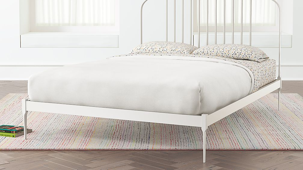 Larkin White Metal Bed   Crate and Barrel
