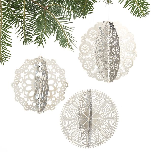 Set of 3 Laser-Cut Dimensional Snowflake Ornaments