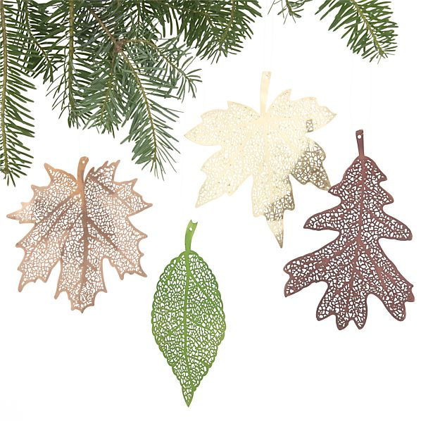 Set of 4 Laser-Cut Leaf Ornaments