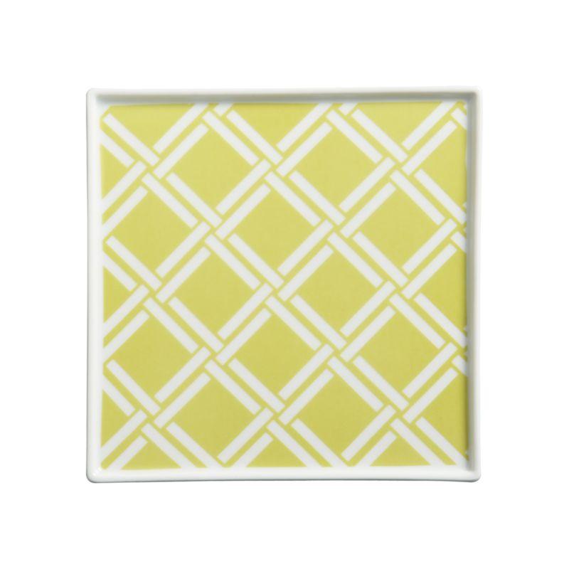 Versatile white porcelain serving square is decorated on the inside with a contemporary Asian lattice motif.<br /><br /><NEWTAG/><ul><li>Porcelain</li><li>Dishwasher-safe</li></ul>