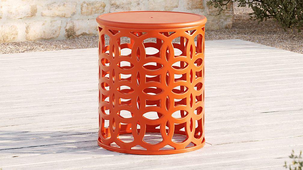 Lattice Circles Large Orange Side Table - Image 1 of 4