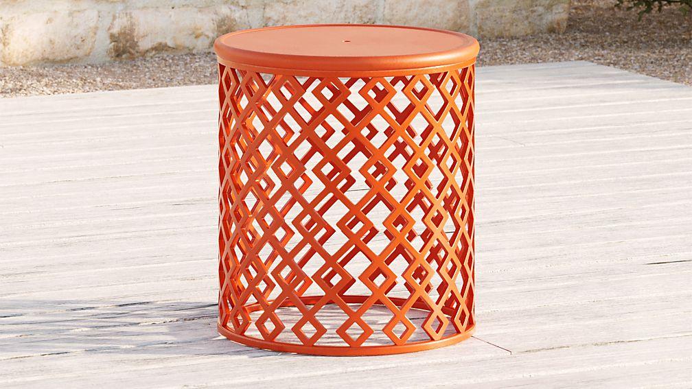 Lattice Diamonds Small Orange Side Table - Image 1 of 4