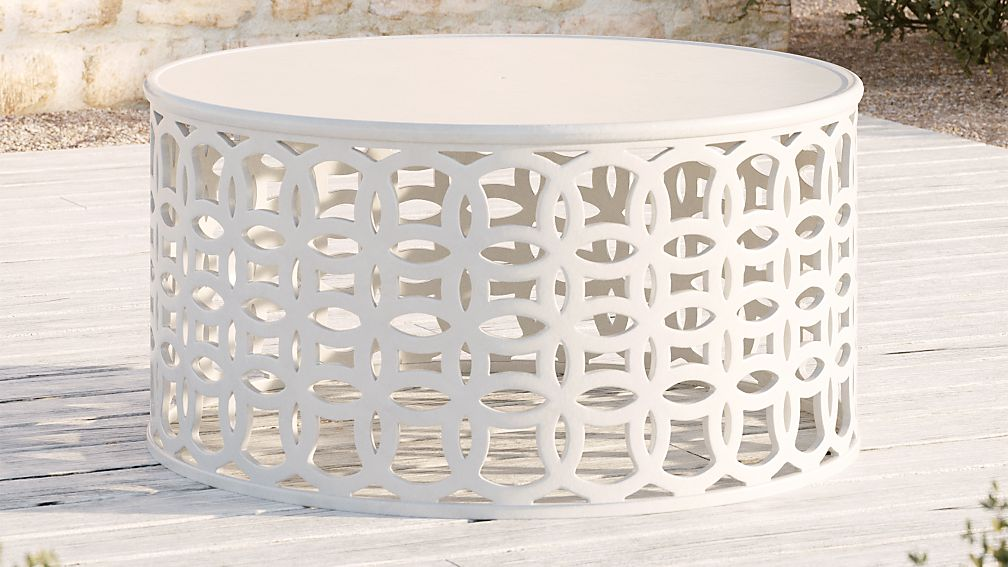 Lattice Circles White Coffee Table - Image 1 of 4