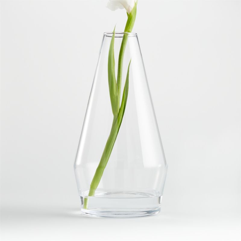 Contemporary style. Clear Glass Tapered Vase