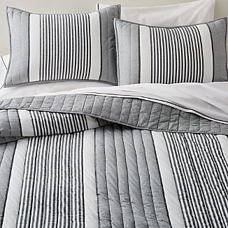 Lauro Grey Striped Quilts and Pillow Shams