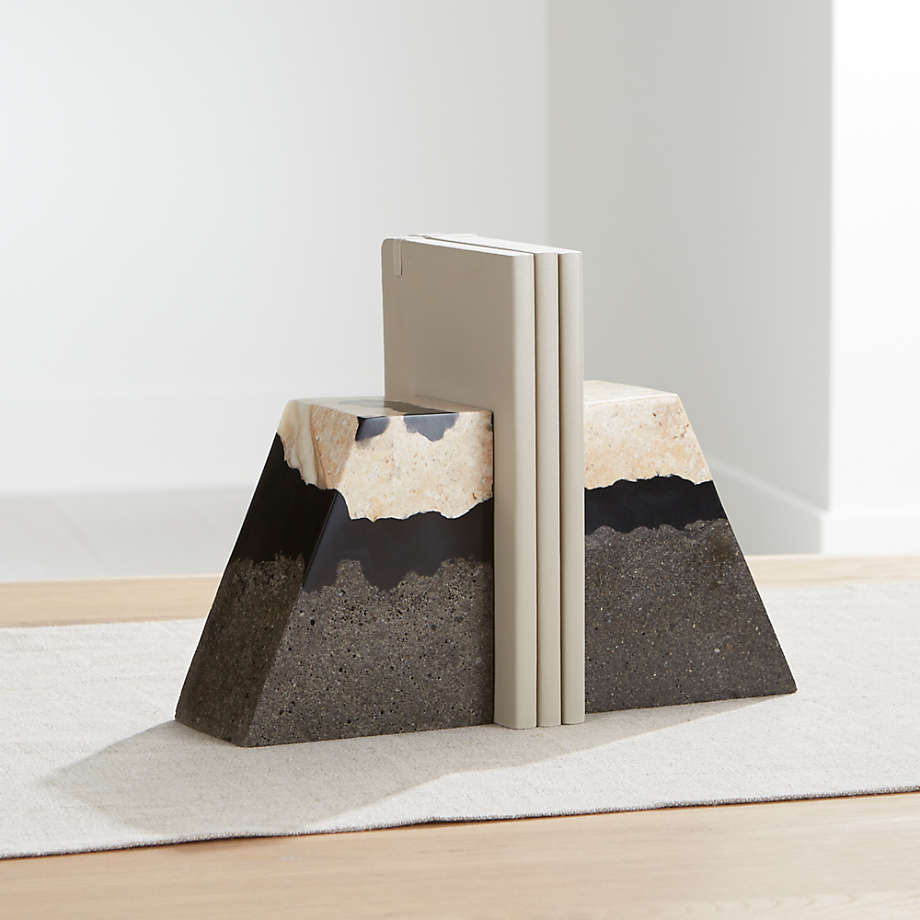 Lava Resin Stone Bookends Set Of 2 Reviews Crate And Barrel Canada