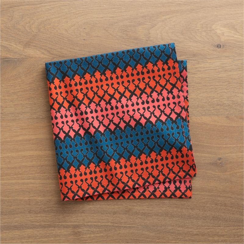 Vibrantly colored, intricately patterned napkin takes its cue from traditional Indian textiles. Screen printed by hand on 100% cotton.<br /><br /><NEWTAG/><ul><li>100% cotton</li><li>Machine wash, tumble dry; warm iron as needed</li><li>Do not dry clean</li></ul>