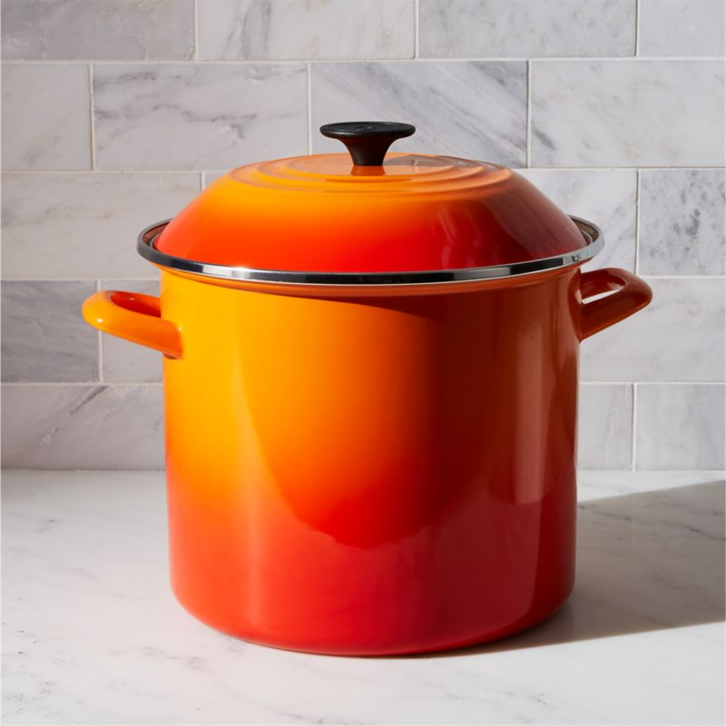 Le Creuset 10 Qt Flame Enamel Stock Pot With Lid