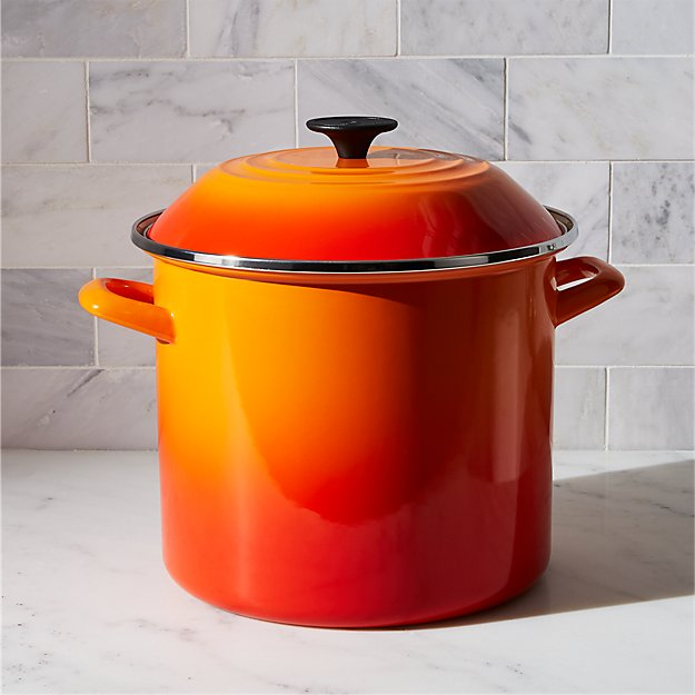 le creuset 10 qt flame enamel stock pot with lid reviews crate and barrel. Black Bedroom Furniture Sets. Home Design Ideas