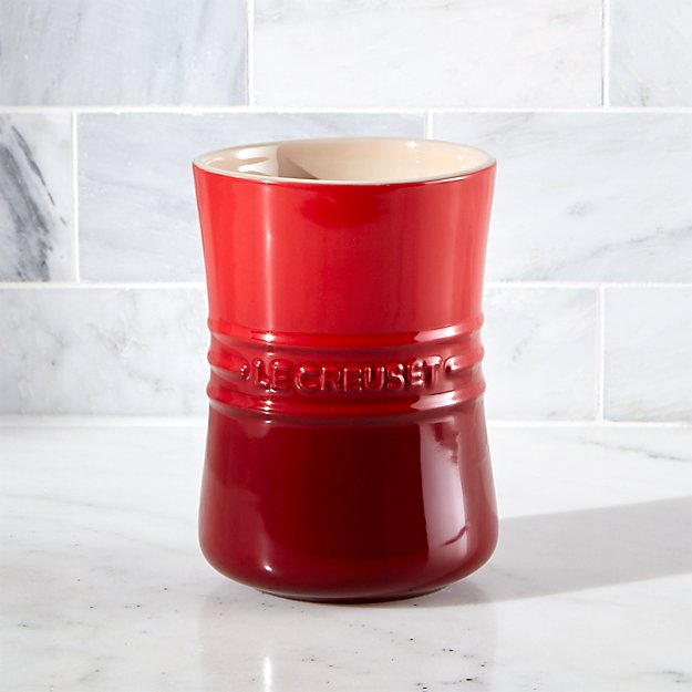 Le Creuset 1 Qt Cerise Red Utensil Holder In Utility Kitchen Helpers Reviews Crate And Barrel