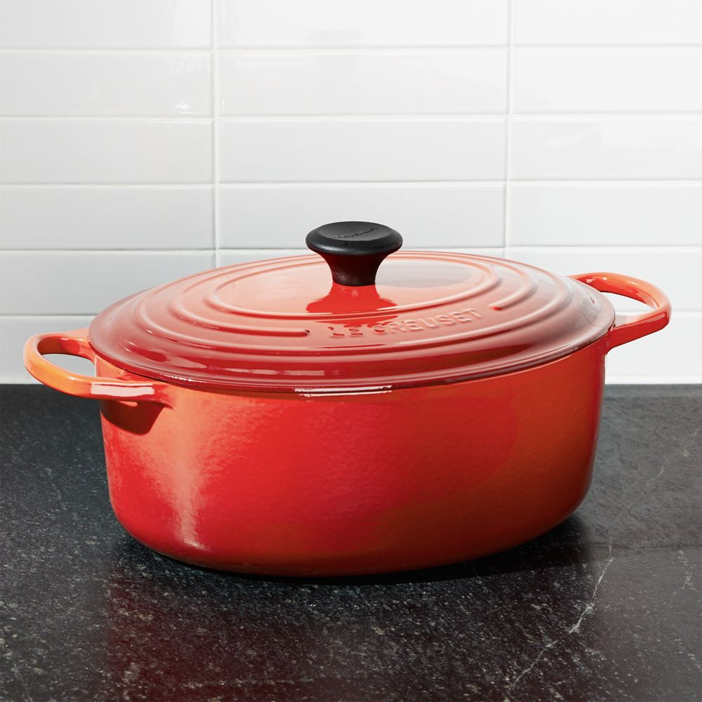 Le Creuset ® Cerise Red 6.75-Qt. Oval French Oven - Crate and Barrel