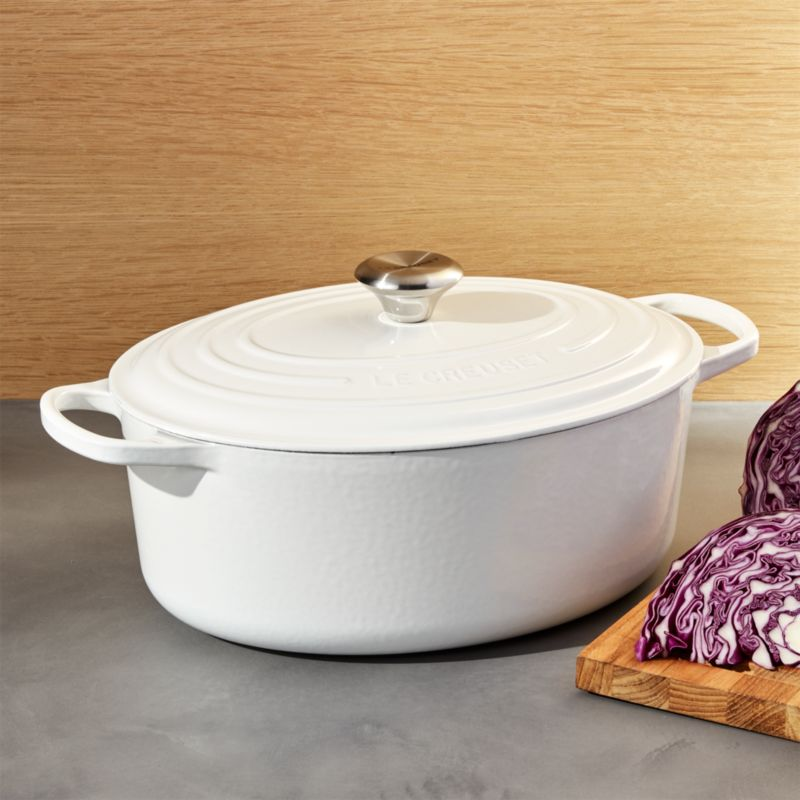 le creuset white oval dutch oven in dutch ovens reviews crate and barrel. Black Bedroom Furniture Sets. Home Design Ideas