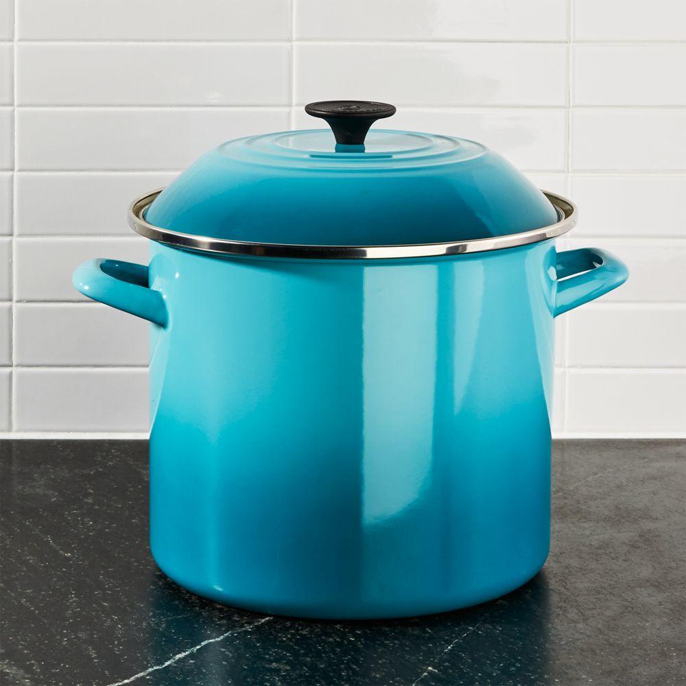 Le Creuset ® 10-Qt. Caribbean Blue Enamel Stock Pot with Lid - Crate and Barrel