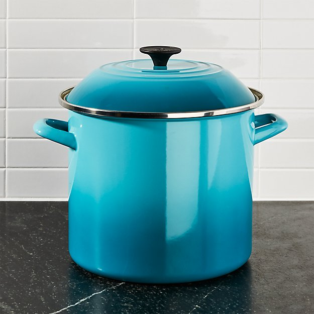Le Creuset 10 Qt Caribbean Blue Enamel Stock Pot With Lid Reviews Crate And Barrel