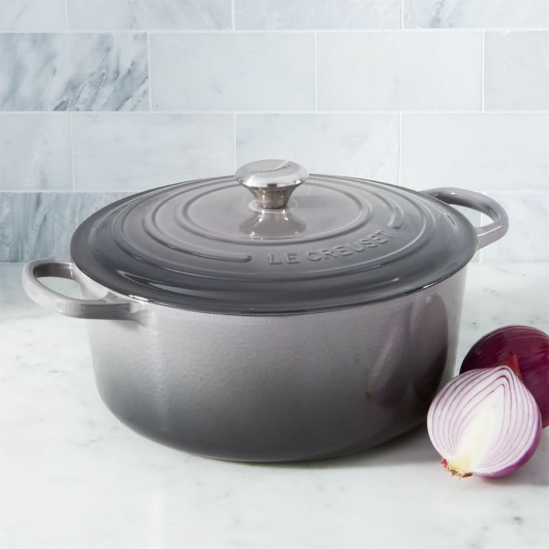 Le Creuset Oyster 9Qt Round Dutch Oven Reviews Crate and Barrel