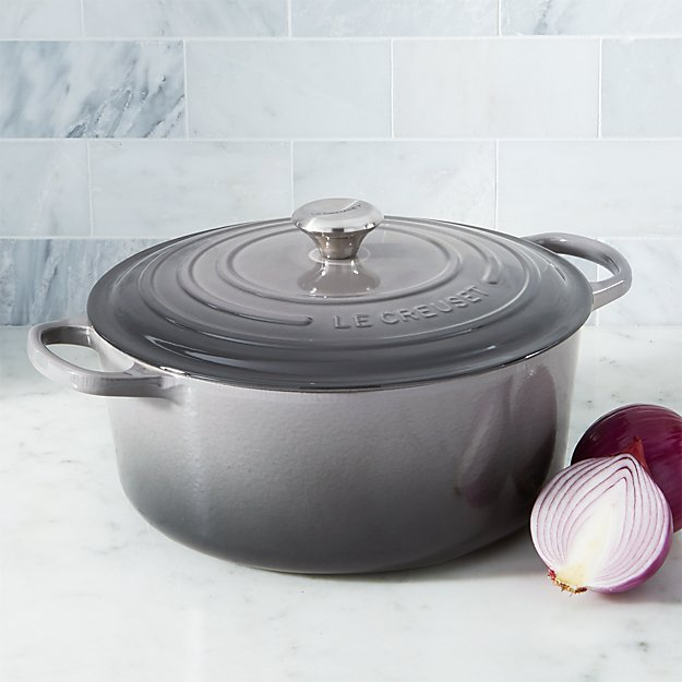 Le Creuset Oyster 9 Qt Round Dutch Oven Reviews Crate And Barrel