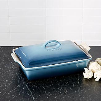 le creuset heritage covered rectangular marine blue baking dish