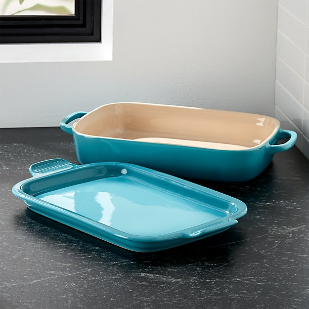 Le Creuset ® Caribbean Blue Rectangular Baking Dish with Platter Lid