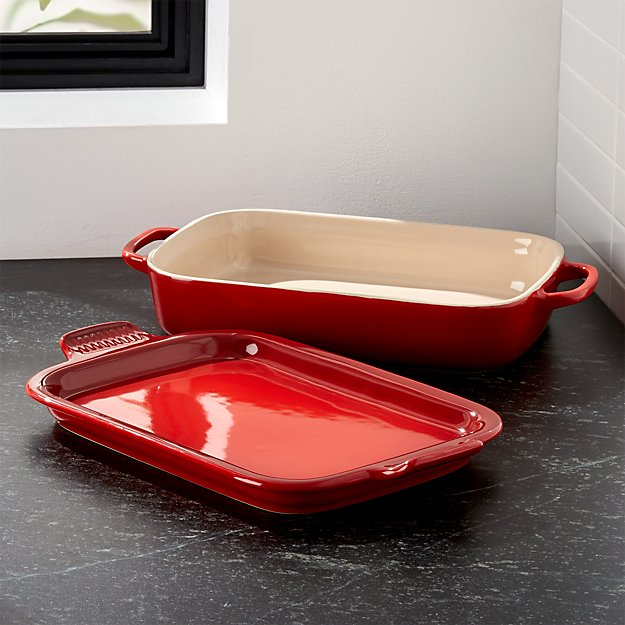 Le Creuset ® Cerise Red Rectangular Baking Dish with Platter Lid