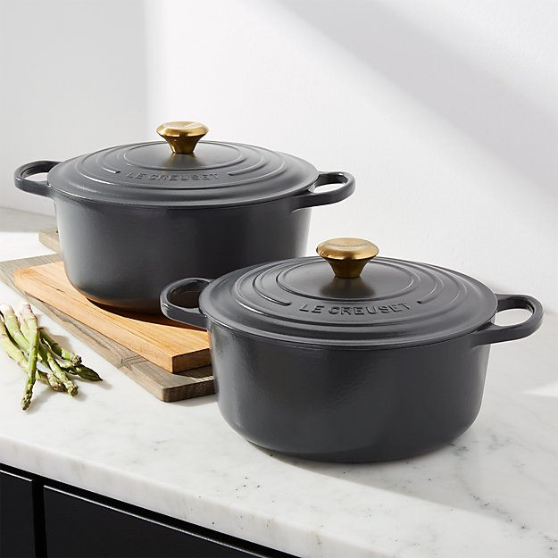 le creuset graphite dutch oven crate and barrel. Black Bedroom Furniture Sets. Home Design Ideas