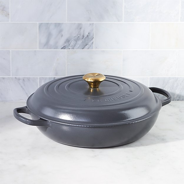 Le Creuset Signature 5 Qt Graphite Grey Everyday Pan Reviews Crate And Barrel