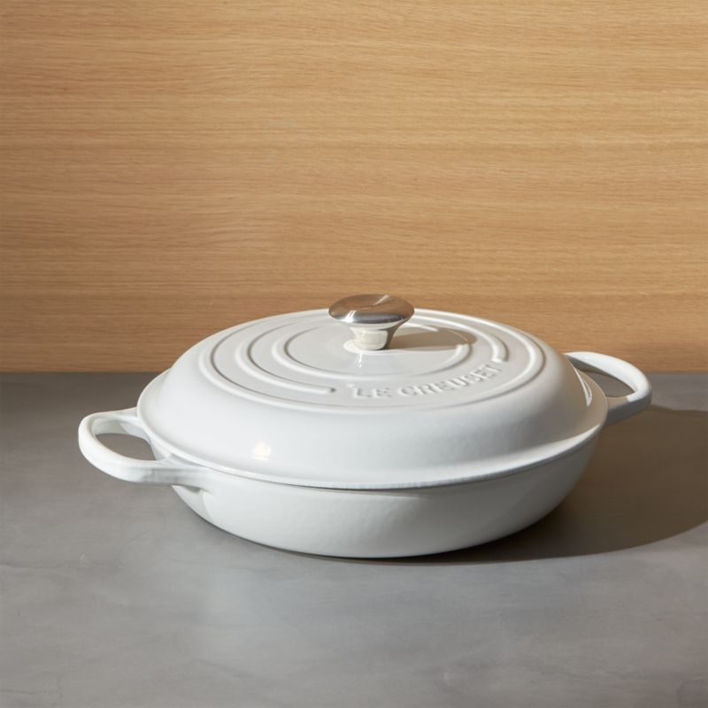 Le Creuset Signature 3 5 Qt White Everyday Pan Reviews Crate And Barrel