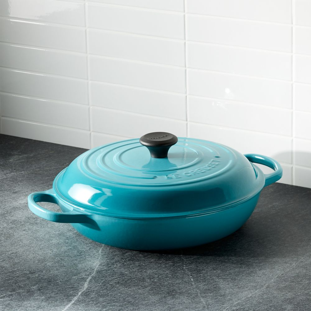 Le Creuset ® Signature 3.75-qt. Caribbean Everyday Pan - Crate and Barrel