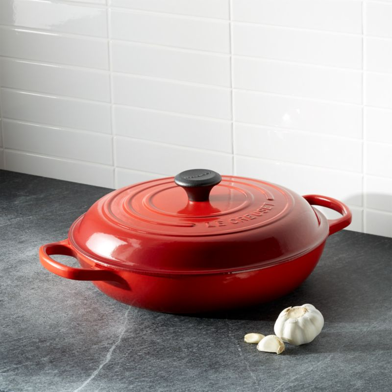 le creuset signature 3 5 qt cerise red everyday pan in individual cookware reviews crate. Black Bedroom Furniture Sets. Home Design Ideas