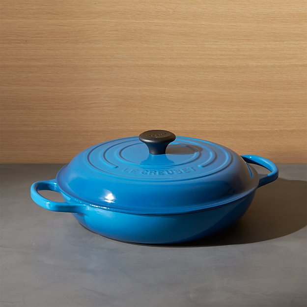 le creuset signature marseille blue everyday pan reviews crate and barrel. Black Bedroom Furniture Sets. Home Design Ideas
