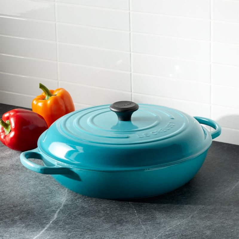 le creuset signature 5 qt caribbean blue everyday pan with lid reviews crate and barrel. Black Bedroom Furniture Sets. Home Design Ideas