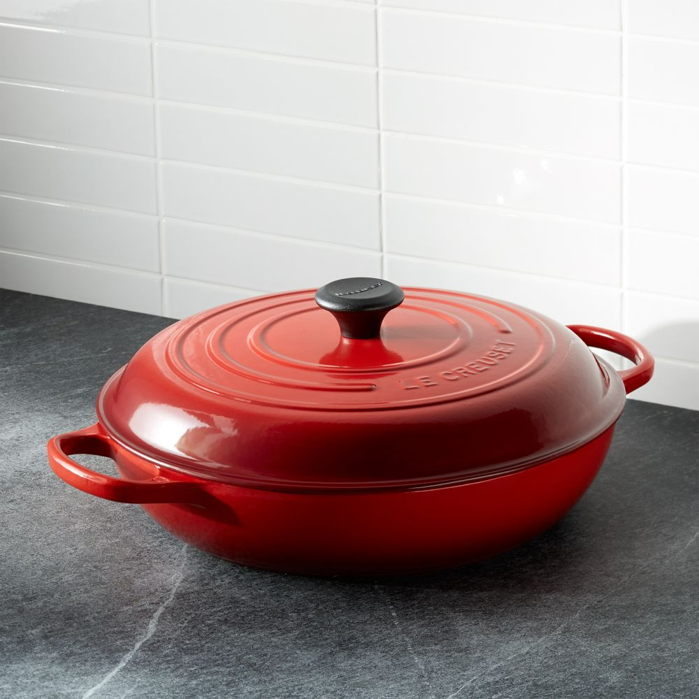 Le Creuset ® Signature 5-qt. Cerise Red Everyday Pan - Crate and Barrel