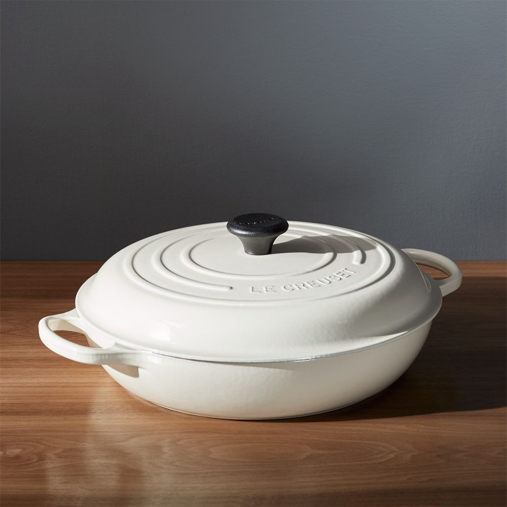Le Creuset ® Signature 5-Qt. Cream Everyday Pan with Lid - Crate and Barrel