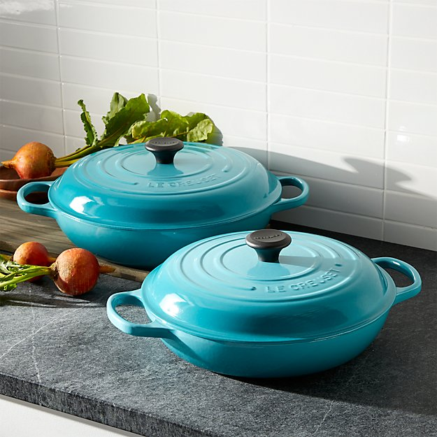 le creuset signature 3 5 qt caribbean everyday pan in enamel cookware reviews crate and barrel. Black Bedroom Furniture Sets. Home Design Ideas
