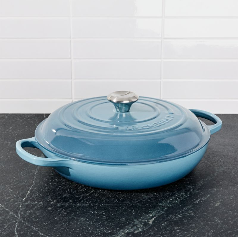 le creuset signature 3 5 qt marine blue everyday pan reviews crate and barrel. Black Bedroom Furniture Sets. Home Design Ideas