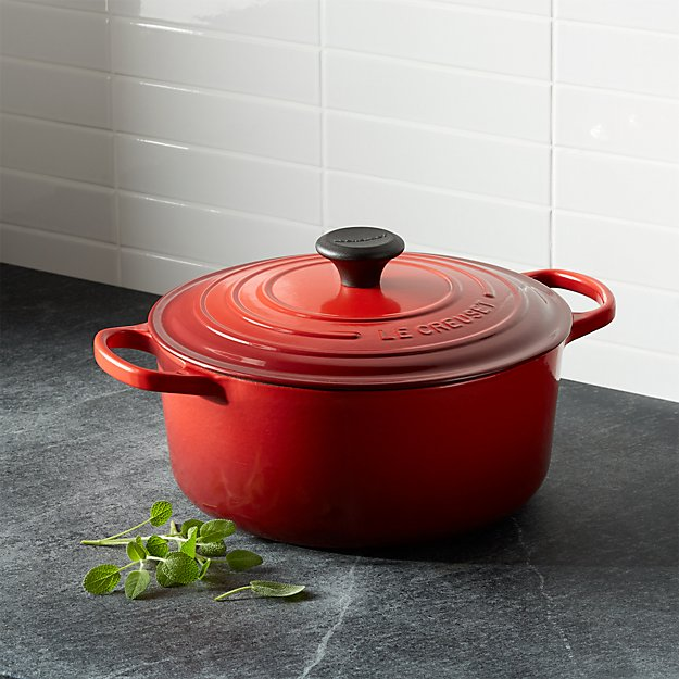 le creuset signature 5 5 qt round cerise red dutch oven with lid reviews crate and barrel. Black Bedroom Furniture Sets. Home Design Ideas