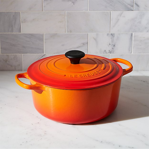 le creuset signature 5 5 qt flame round dutch oven reviews crate and barrel. Black Bedroom Furniture Sets. Home Design Ideas