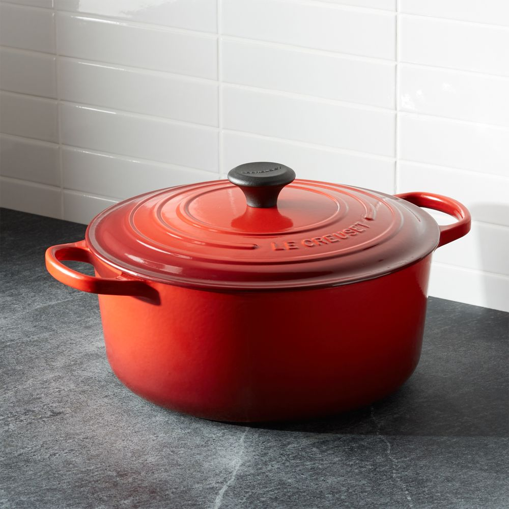 Le Creuset ® Signature 7.25 qt. Round Cerise Red French Oven with Lid - Crate and Barrel