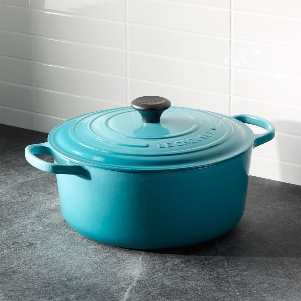 Le Creuset ® Signature 7.25-qt. Round Caribbean French Oven with Lid - Crate and Barrel